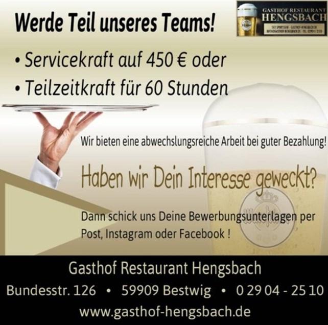 Servicekraft oder Teilzeitkraft gesucht im Gasthof Hengsbach in Bestwig